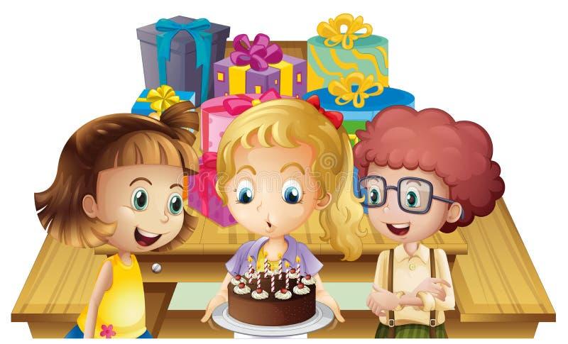 Dziewczyna świętuje jej urodziny z jej przyjaciółmi royalty ilustracja
