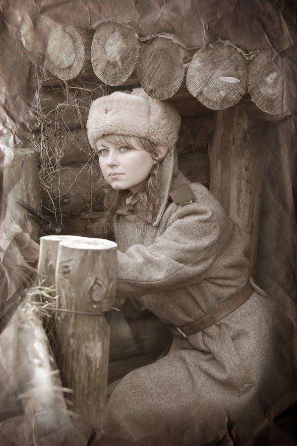 dziewczyna żołnierza wwii zdjęcie stock