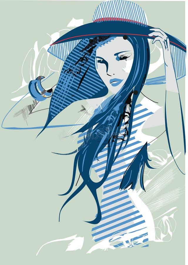 dziewczyna abstrakcjonistyczny kapelusz ilustracji