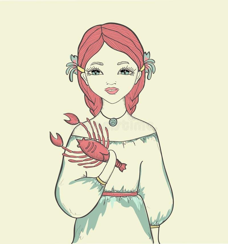 Dziewczyna. Astrologiczny znak ilustracji