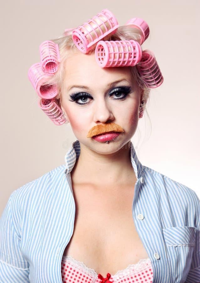 dziewczyna atrakcyjny wąsy zdjęcie stock