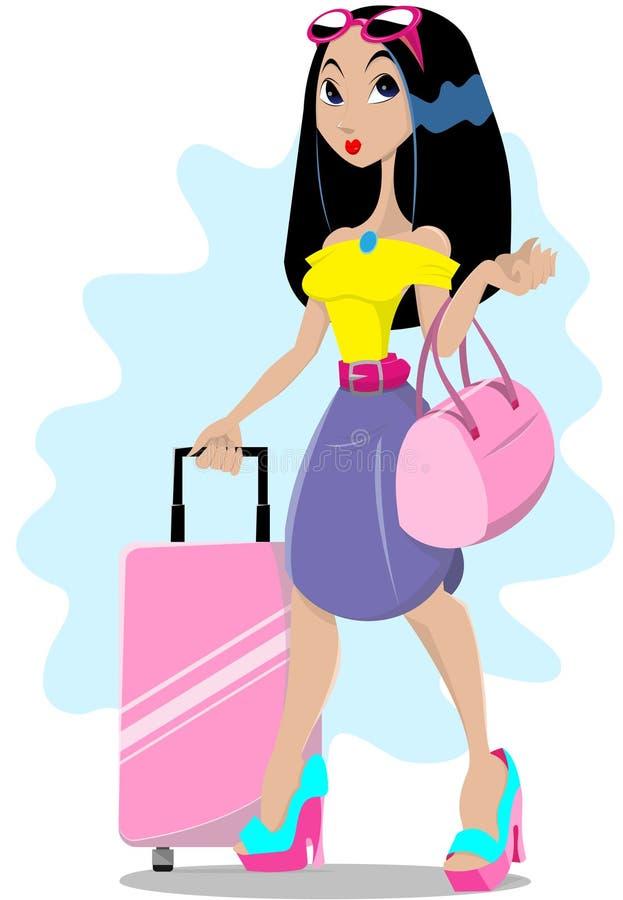 dziewczyna bagaż royalty ilustracja