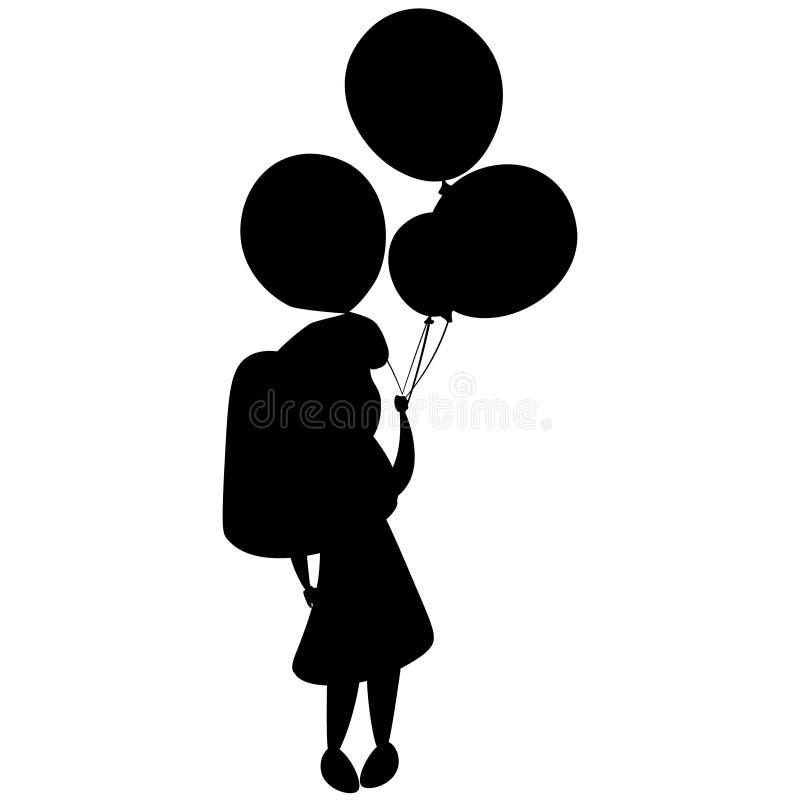 Dziewczyna balony i sylwetka ilustracja wektor