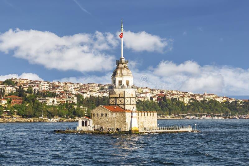 Dziewczyna Basztowy słoneczny dzień Istanbuł, (Kiz Kulesi) obraz stock