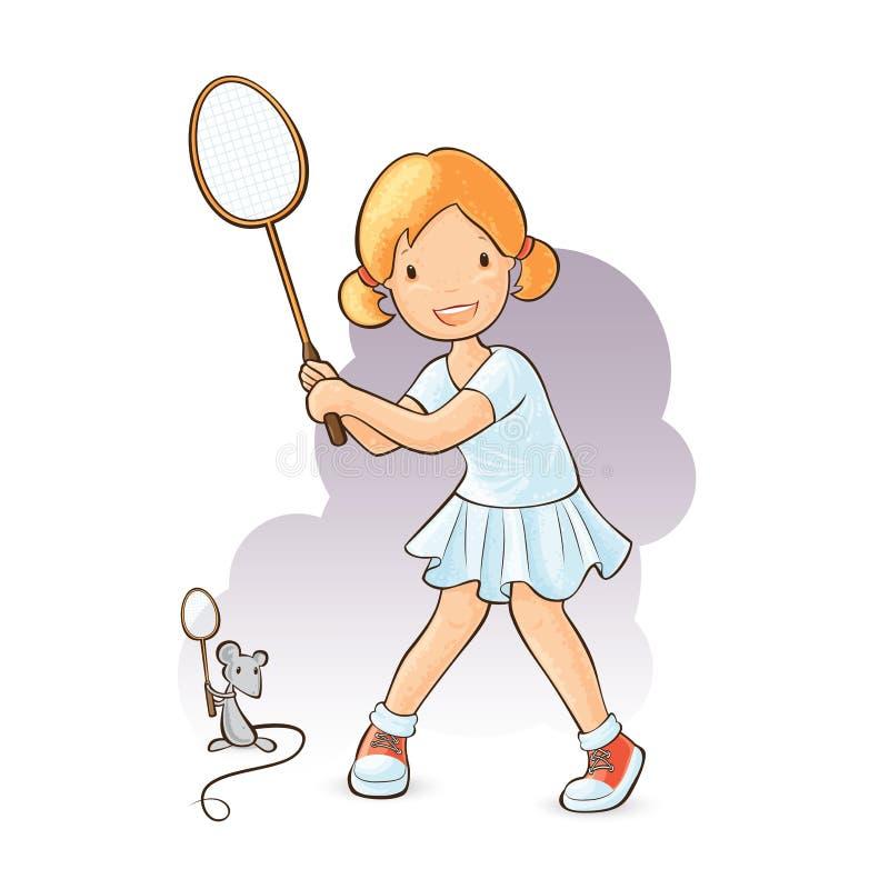 Dziewczyna bawić się badminton royalty ilustracja