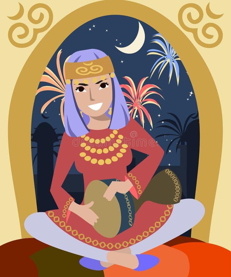 Dziewczyna bawić się darbuka przy Ramadan