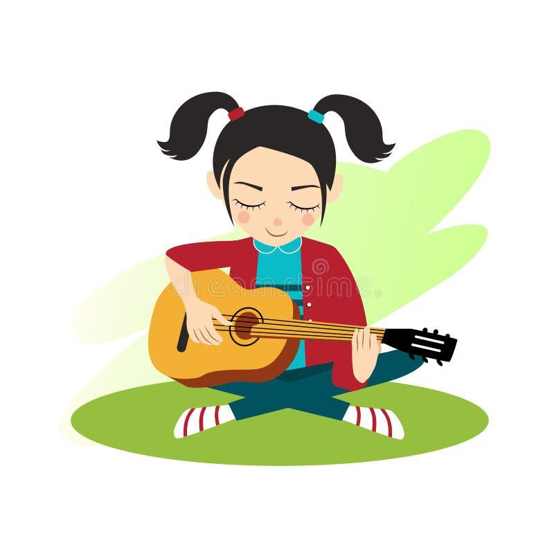 Dziewczyna bawić się gitarę ilustracji