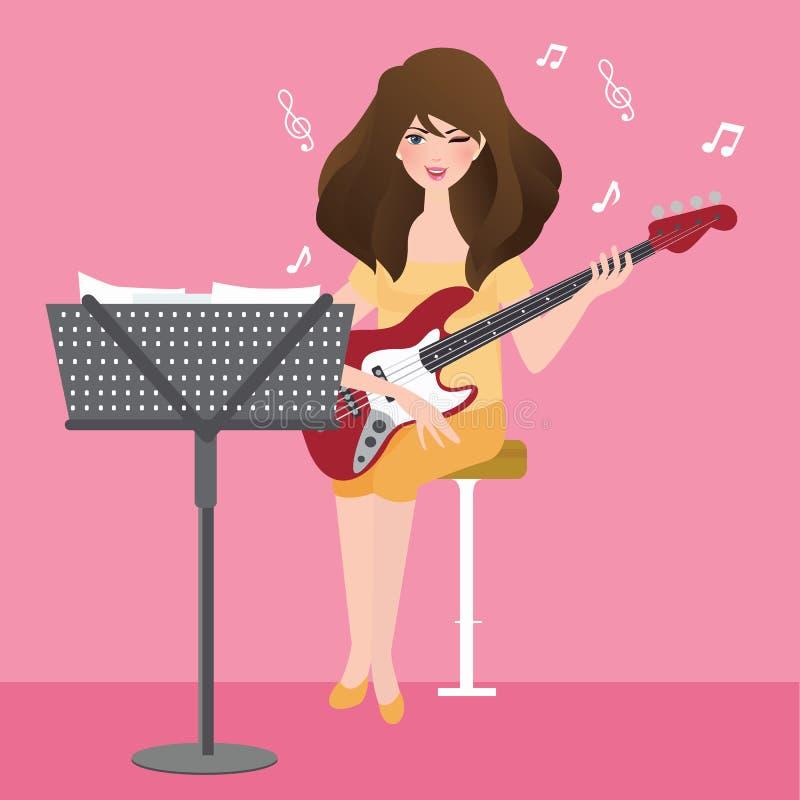 Dziewczyna bawić się gitarę komponuje muzykalnego akord z notatka stojakiem ilustracji