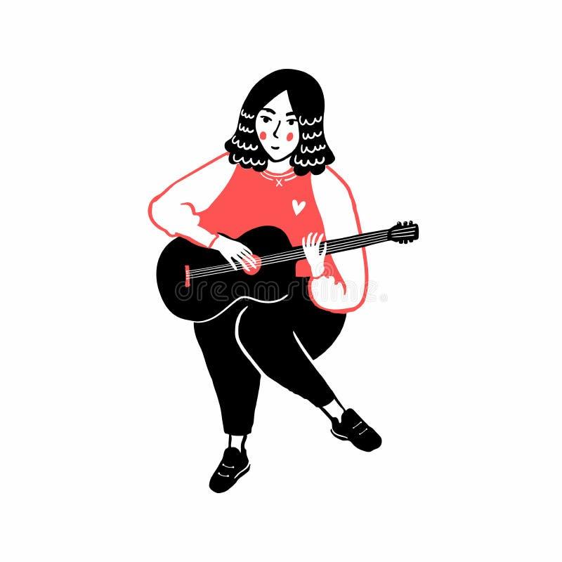 Dziewczyna bawić się ukulele, ręka rysująca ilustracja śliczny muzyka charakter w czerwonej bluzie sportowej Pojedyncza m?oda kob ilustracja wektor