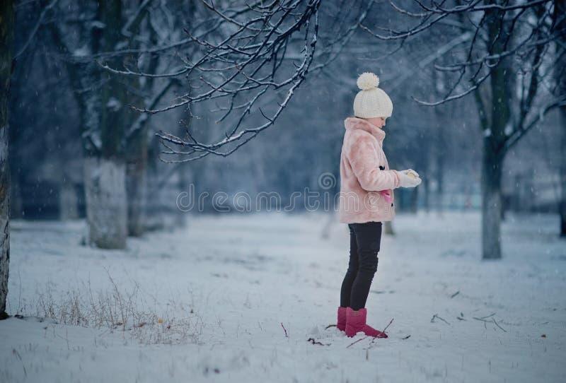 Dziewczyna bawić się w śnieżnym parku zdjęcia royalty free