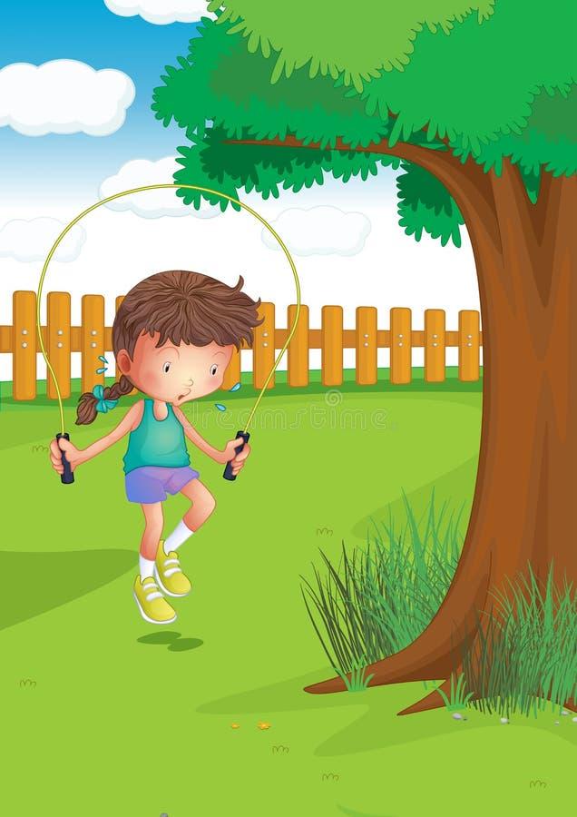Dziewczyna bawić się z skokową arkaną przy ogródem ilustracji