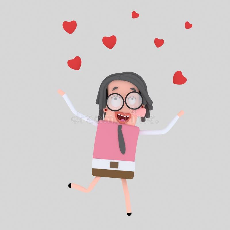 Dziewczyna bieg podczas gdy swój pada serca 3d ilustracja wektor