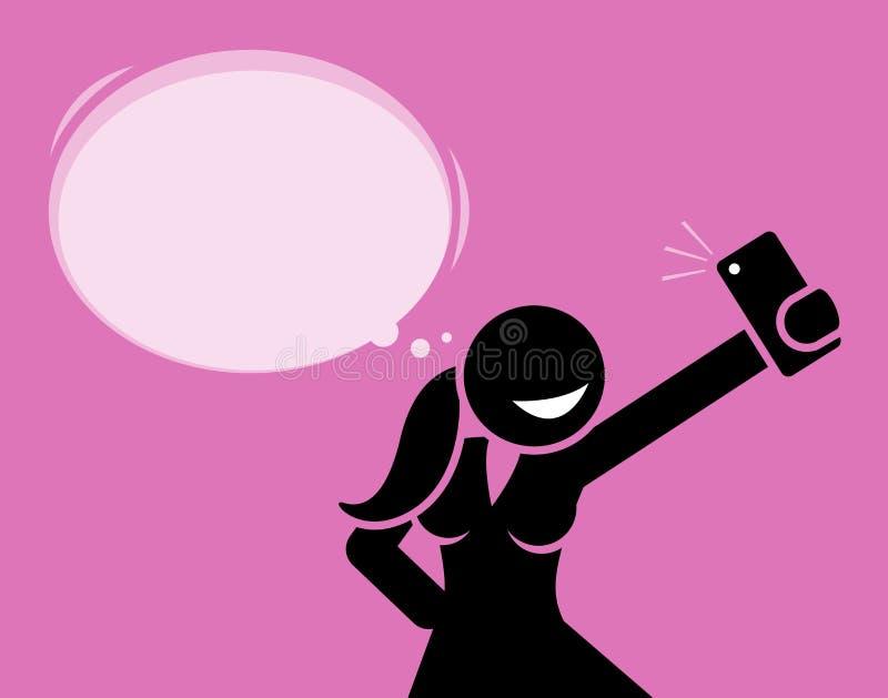 Dziewczyna bierze selfie fotografię z jej telefon kamerą ilustracja wektor