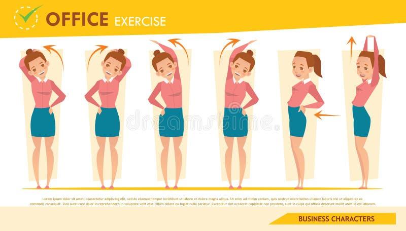 Dziewczyna biurowy syndrom infographic i rozciągania ćwiczenie ustawiamy 2 ilustracji