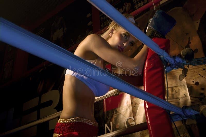 Dziewczyna bokser w bokserskim pierścionku zdjęcia royalty free