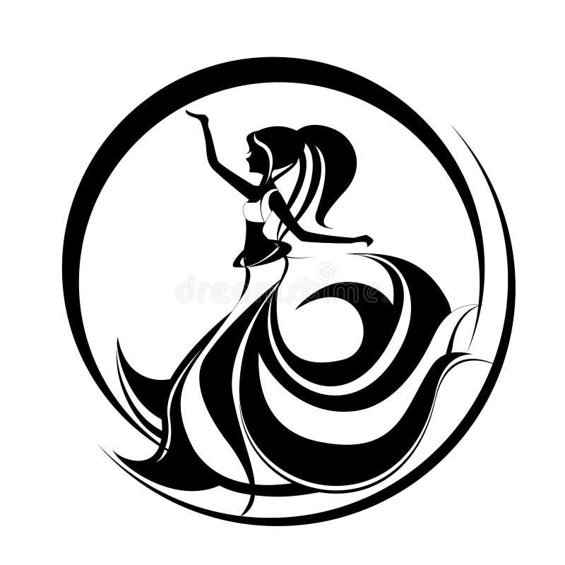 Dziewczyna brzucha dancingowy taniec royalty ilustracja