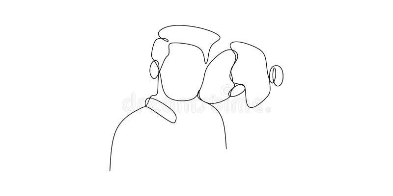 Dziewczyna buziak chłopak lub jej mąż z pojedynczym jeden kreskowego rysunku wektorowym romantycznym momentem odizolowywającym na royalty ilustracja