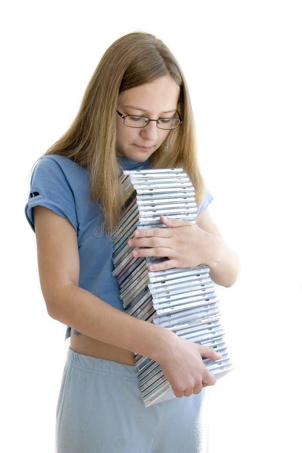 dziewczyna cd obraz stock
