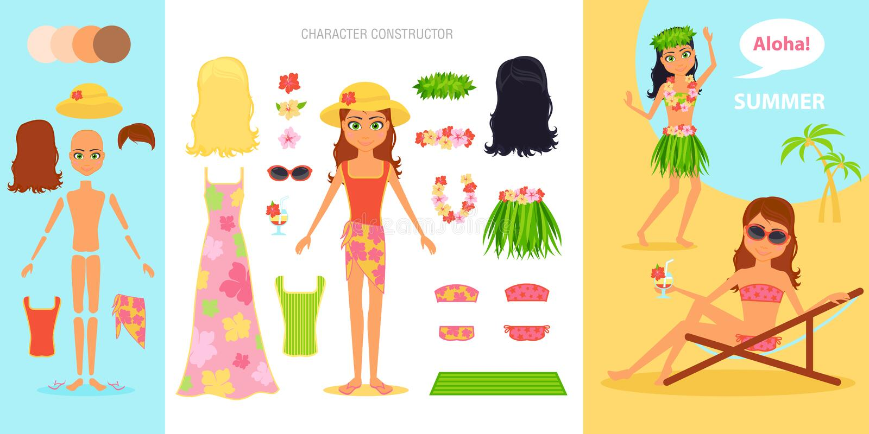 Dziewczyna charakteru tworzenia set Kreskówki wektorowa płaska infographic ilustracyjna podróż Kobieta w swimsuit na tropikalnej  ilustracja wektor