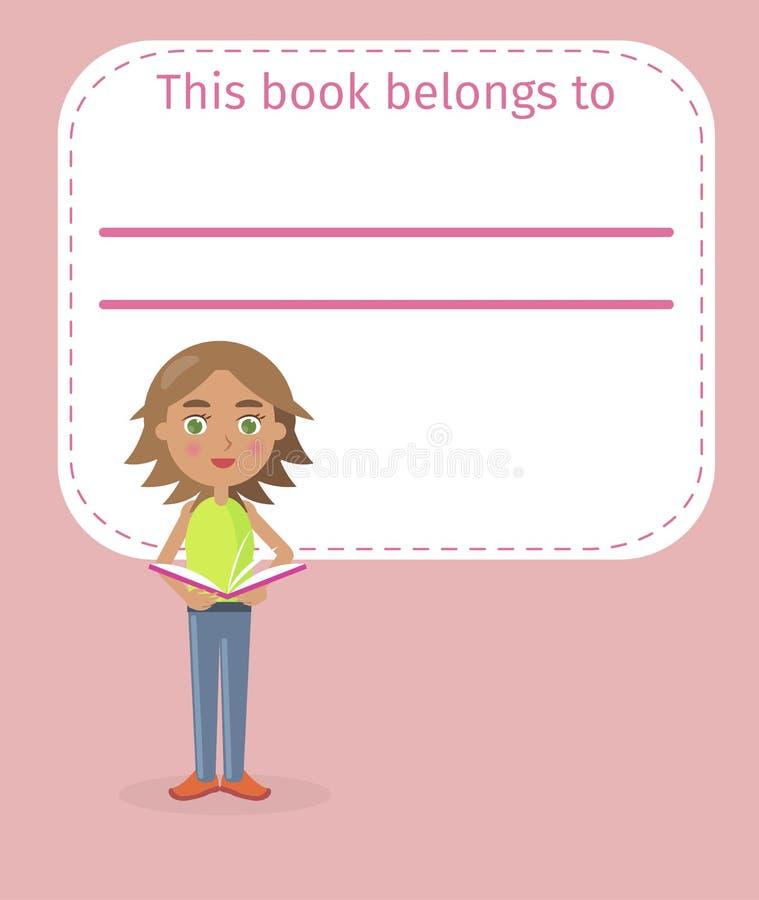 Dziewczyna chwytów miejsce dla Podpisywać ilustrację i książka royalty ilustracja