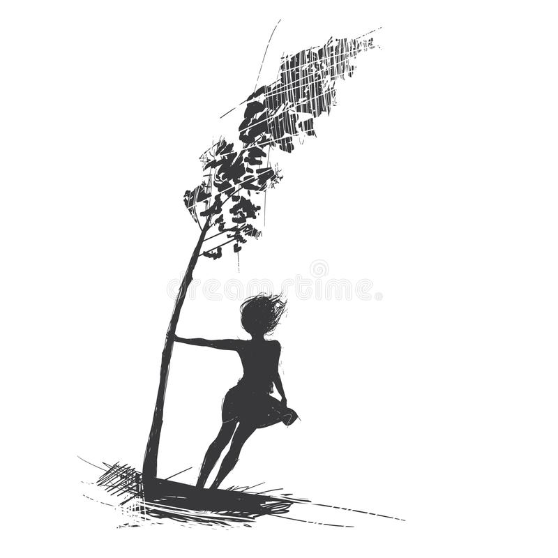Dziewczyna chwyty na drzewie wiatr dmuchają silnego nakreślenie ilustracja wektor