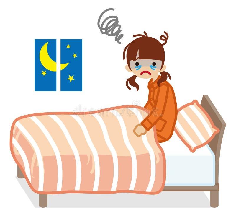 Dziewczyna cierpi bezsenność koloru Koralowych Bedclothes ilustracji