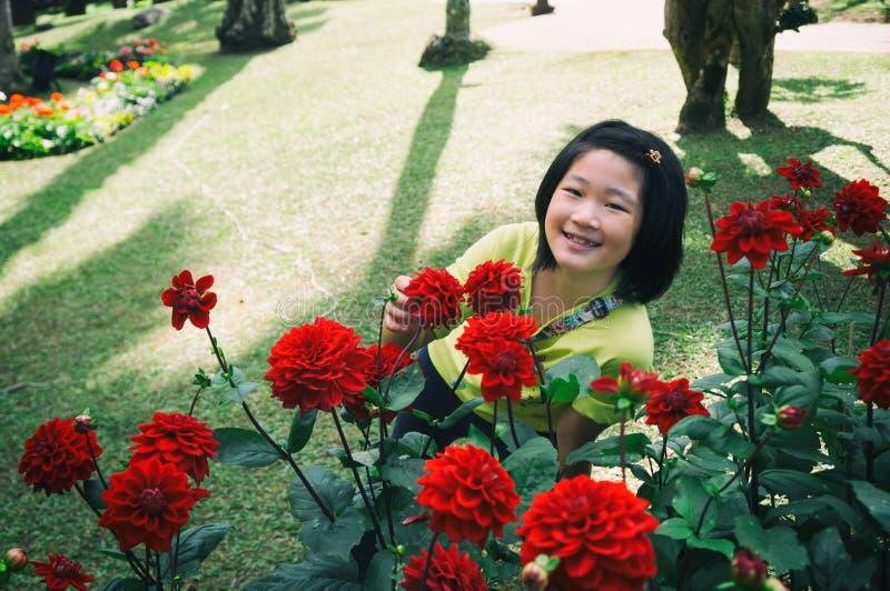 dziewczyna cieszy się pięknej czerwonej dalii obrazy royalty free