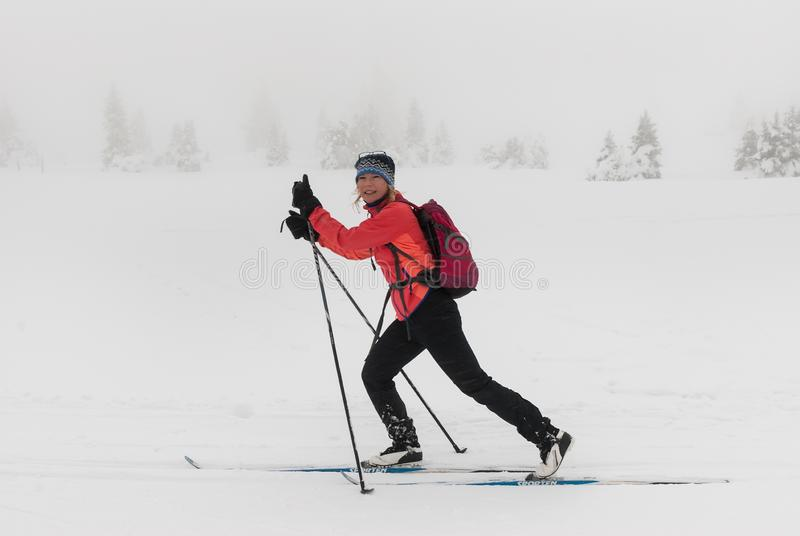 Dziewczyna Cieszy się Przecinającego kraju narciarstwo w Śnieżnym Mglistym krajobrazie zdjęcia stock