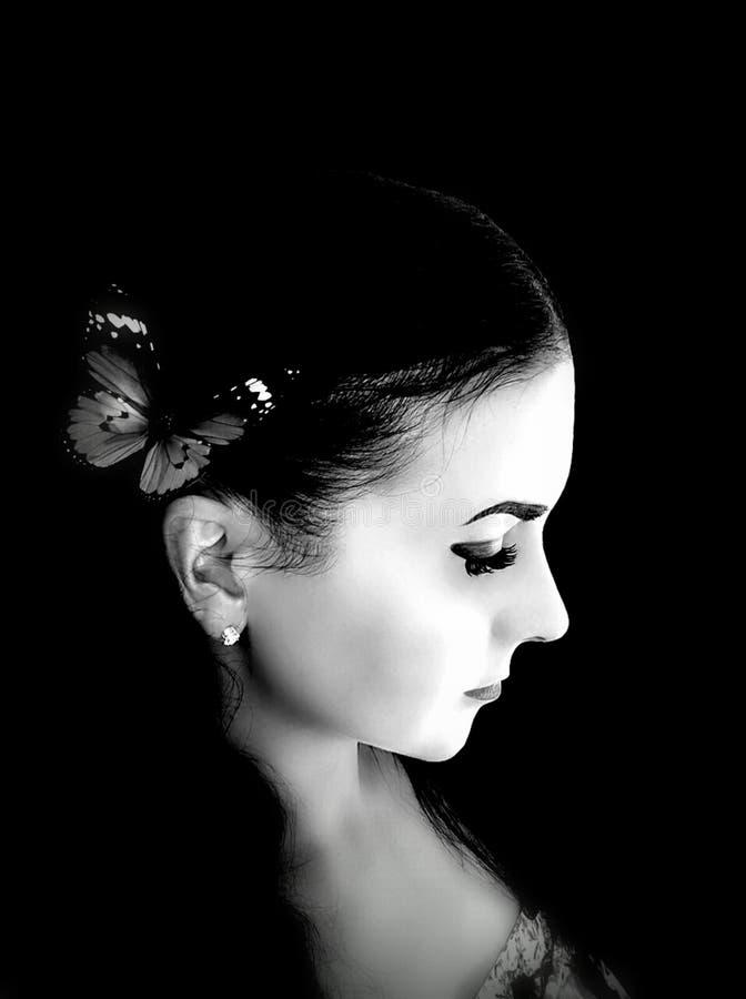 Dziewczyna czarny i biały wizerunek obraz royalty free
