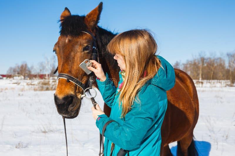 Dziewczyna czesze czarną końską grzywę z gręplą fotografia stock
