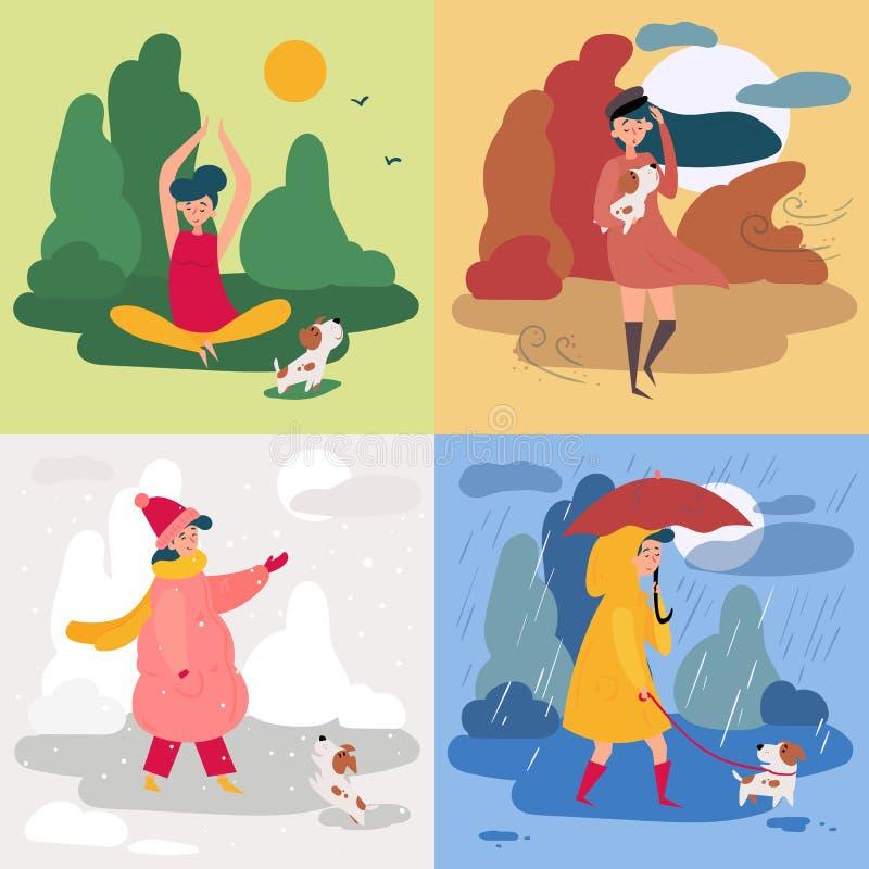 Dziewczyna, cztery pogody i sezony i Śnieżny, dżdżysty ilustracji