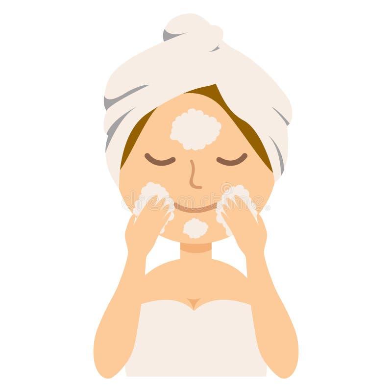 Dziewczyna czyści jej twarz z pianą, kobiety czułość dla ona, zdrowa stylu życia wektoru ilustracja royalty ilustracja