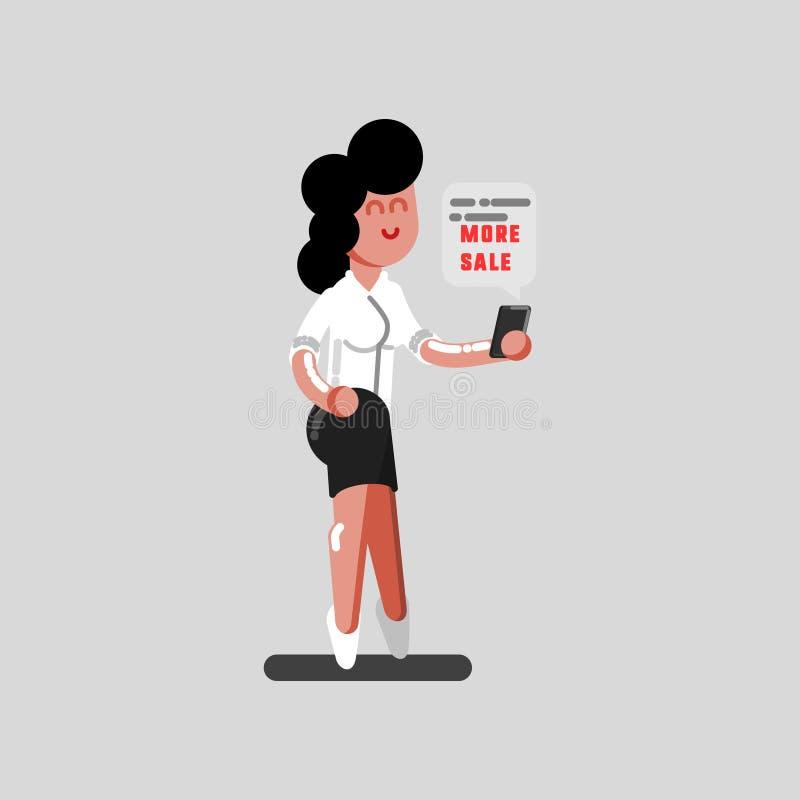Dziewczyna czyta dyskontowego masaż ilustracji