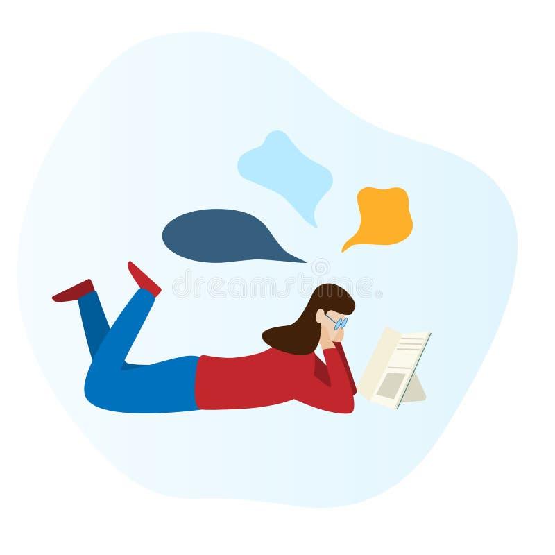 Dziewczyna czyta książkę i kłaść na podłodze ilustracja wektor