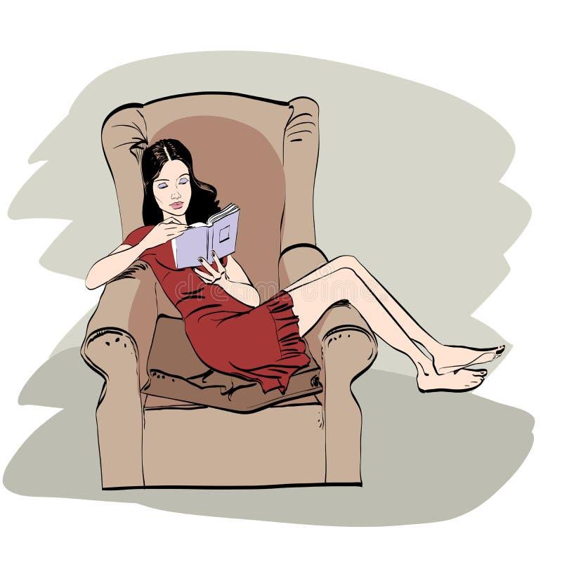 Dziewczyna czyta książkę w domu royalty ilustracja