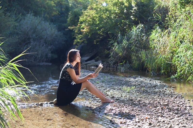 Dziewczyna czyta książkę w lesie obraz royalty free