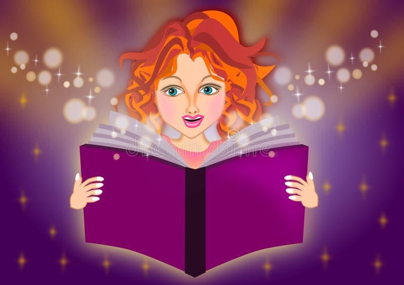 Dziewczyna czyta magiczną książkę ilustracja wektor