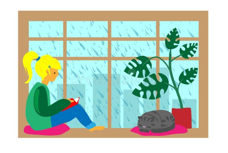 Dziewczyna czytająca książka, deszczowy dzień ilustracji