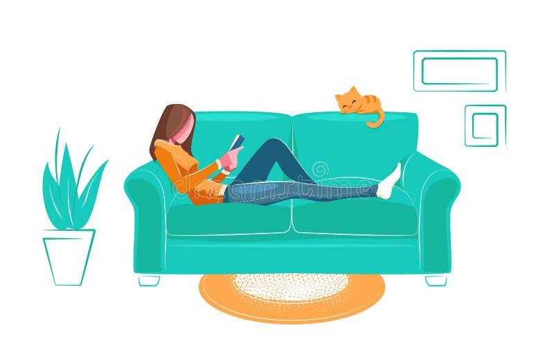 Dziewczyna czytająca książkę na kanapie w stylu płaskim Czytanie, edukacja, uczenie się w domu Ilustracja rekreacji Młoda kobieta ilustracja wektor