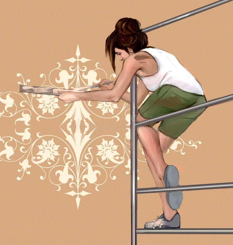 Dziewczyna dekoruje, malujący ścianę z pięknymi, symetrycznymi, architectonic, kwiecistymi dekoracjami, royalty ilustracja