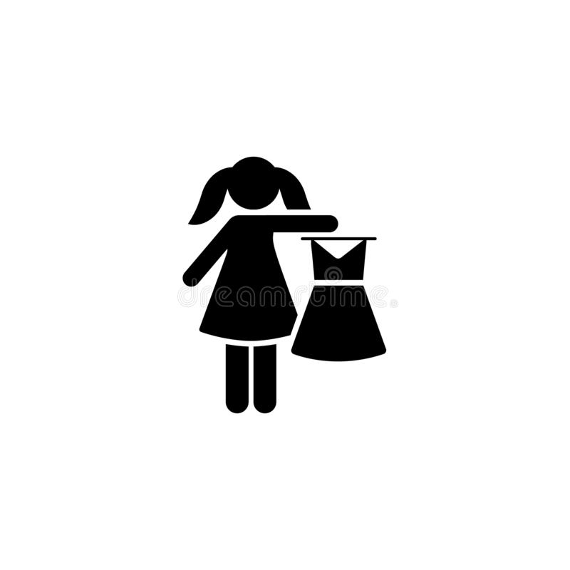 Dziewczyna, dom, suknia, dziecko ikona Element dziecko piktogram Premii ilo?ci graficznego projekta ikona podpisz symboli ilustracja wektor