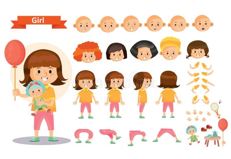 Dziewczyna dzieciak bawić się gry i zabawki kreskówki dziecka charakteru wektorowego konstruktora odizolowywał części ciała ikony royalty ilustracja