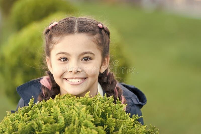 Dziewczyna dzieciaka zielonej trawy ?liczny u?miechni?ty t?o Zdrowy emocjonalny szcz??liwy dzieciak relaksuje outdoors Co robi dz obraz royalty free