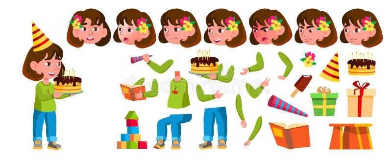 Dziewczyna dziecina dzieciaka wektor Animaci tworzenia set Twarzy emocje, gesty Preschool, dzieciństwo uśmiech zabawki dla royalty ilustracja