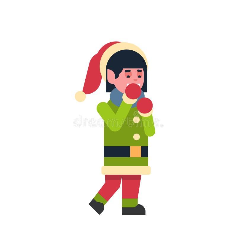 Dziewczyna elfa Santa Claus pomagiera wesoło bożych narodzeń nowego roku wakacyjnego szczęśliwego pojęcia żeńska postać z kresków ilustracja wektor