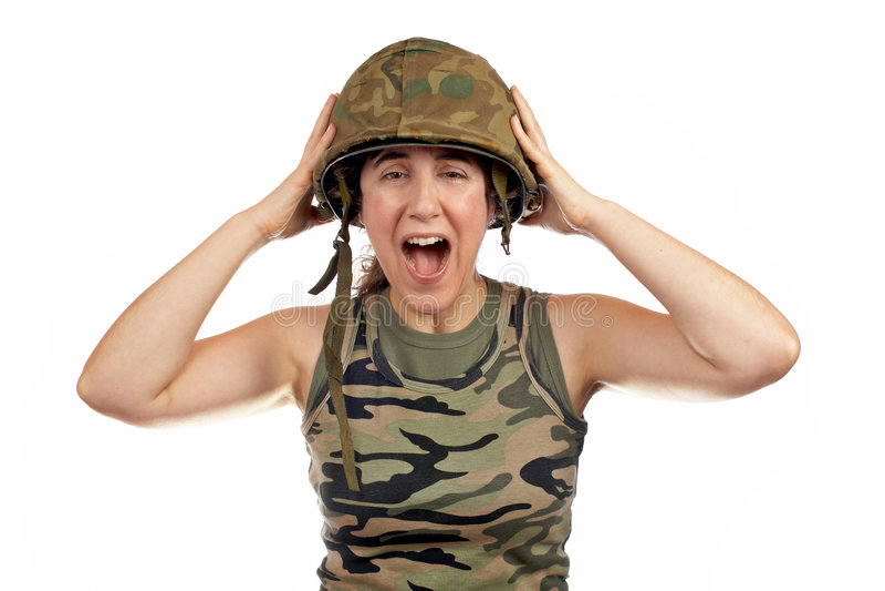 dziewczyna gniewający żołnierz. zdjęcia stock