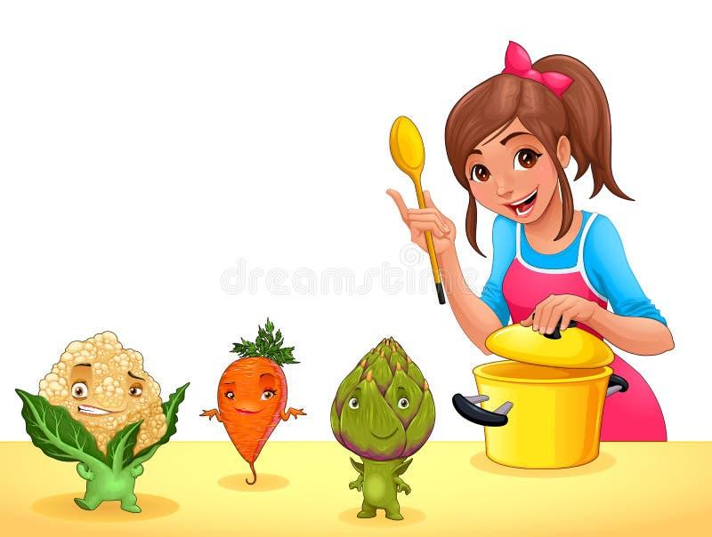 Dziewczyna gotuje z trzy śmiesznymi warzywami ilustracja wektor