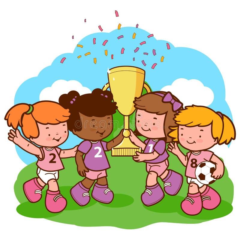 Dziewczyna graczów piłki nożnej mistrzowie trzyma trofeum ilustracji