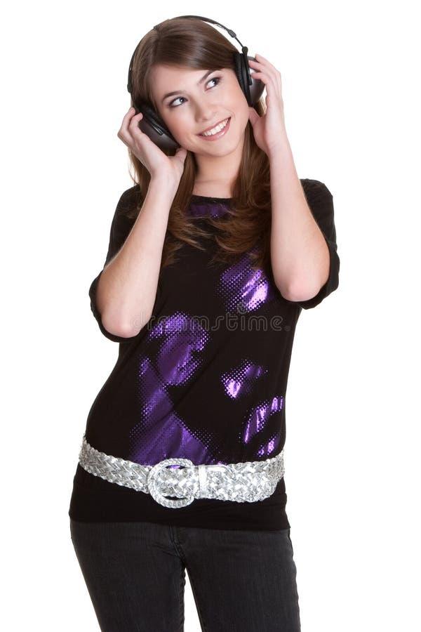 dziewczyna hełmofony obrazy stock