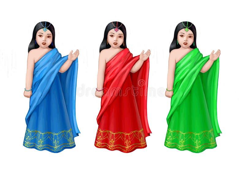 dziewczyna hindus trzy ilustracji